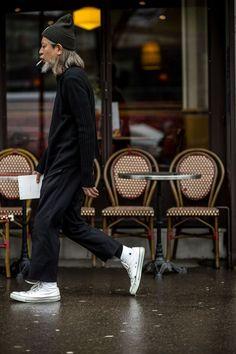 Toque, rolled hems, white sneakers, socks