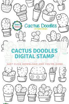 Cactus Doodles Digital Stamp - Cactus Cliparts / Garden Clipart / Hand drawn Cactus / Hand drawn Printable / Cactus Line Art / Plant Doodles #ad odle #bujo  #planner #printable #ad