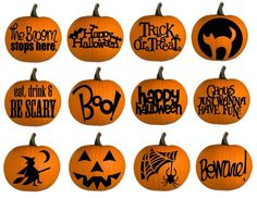 Love these pumpkins decorated in vinyl...would be awesome on the foam pumpkins from the craft stores too.
