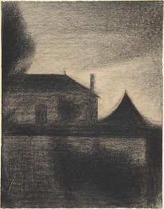 House at Dusk (La Cité) - 1881–82, Conté crayon, Georges Seurat