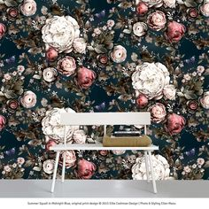 Summer Squall in Midnight Blue - Floral Wallpaper - by Ellie Cashman Design