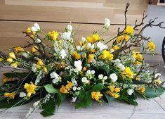 Funeral Arrangements, Silk Floral Arrangements, Flower Spray, Funeral Flowers, Ikebana, Yellow Roses, Fresh Flowers, Flower Decorations, Floral Design