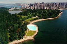 Swimming at Second Beach outdoor pool in Stanley Park, Vancouver, British Columbia, Canada - priceless!