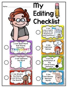 Writing Workshop: 8 Mini Posters {for Editing} Kindergarten and First Grade. Use for lessons and then hang in the classroom for reference. Also included is a student helper sheet for students' writing workshop notebook. $