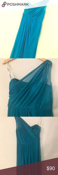 Davids Bridal One Shoulder Dress 👗 Fairly New! Only worn once. There is a tiny hole in the back (see photo) but it is not noticeable. Super cute for prom or any other fancy occasion. Dresses One Shoulder