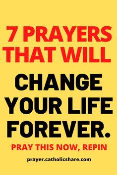 Some 7 Powerful Prayers That Will Change Your Life Forever. #Change #Life #God #Jesus #catholicfaith #April2021 #Prayerinspiration #Powerful Lent Prayers, Easter Prayers, Bible Prayers, Catholic Prayers, Holy Week Prayer, Christmas Prayer, Powerful Prayers, Miracle Prayer, Inspirational Prayers