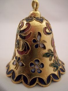 Cloisonne Bell Butterflies Flowers Enamel Beautiful Detail & Ring.