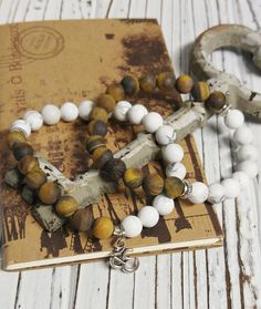 Frosted Howlite and Frosted Tiger Eye Stone Bracelet Set