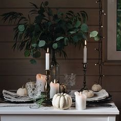Such a simple, elegant look for fall.  White pumpkins, and soft neutrals with #candles :camera:: @_lavrush_ka - - - - #home #homedecor #homedesign #homedecoration #interiordesign #interiors #decor #decorate #decorating #autumn #autumncolors #autumndecor #
