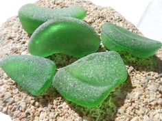 Big green sea glass pieces, green beach glass bottle pieces, sea glass supply by BeniciaSeaglass on Etsy