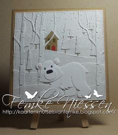 made by femke niessen: polar bear landscape card. used different brands of dies to make the landscape. for the white on white I used white, white kraft and white glitter cardstock. you could use white pearl cardstock too or like a off white color.