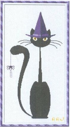 """""""Mister Halloween Meow"""" is the title of this cross stitch pattern from Alessandra Adelaide Needleworks that is just too fun!"""