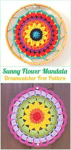 Crochet Sunny Flower Mini Mandala Sun-Catcher Free Pattern - Crochet Dream Catcher Free Patterns
