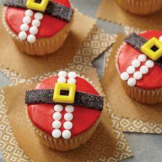 How to make cupcakes - cute cupcakes - Santa belt cup cakes - winter Christmas theme cake - moist festive cupcakes