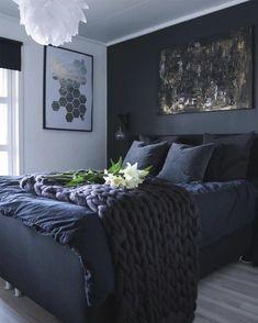 Bedroom Decor Dark, Black Bedroom Design, Bedroom Wall Colors, Room Ideas Bedroom, Blue Bedroom, Modern Bedroom, Dark Romantic Bedroom, Dark Cozy Bedroom, Master Bedroom