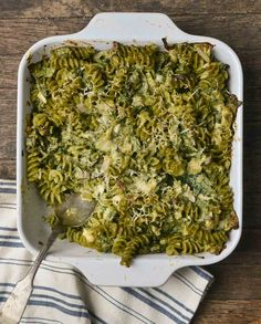 Pasta casseroles are perhaps the ultimate combination of weeknight convenience and homey comfort food. Casseroles like this one don't take long to cook, and they can be put together the day before and baked or warmed up at the end of a long day. And yet these pasta bakes are comforting and delicious. This one has a double dose of spinach, spoonfuls of pesto, and, yes, plenty of cheese. It's a whole meal in one dish.