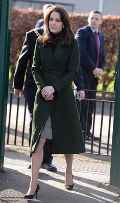 duchesskate:  Visit to 3 school-based charity projects, Edinburgh, Scotland, February 24, 2016-The Duchess of Cambridge repeated her Sportsmax forest green coat worn at Christmas and paired it with a black turtleneck and new Le Kilt Gray Classic Houndstooth Wool Kilt, accessorized with Stuart Weitzman 'Power' Pumps, Bromley 'Muse' clutch and Kiki McDonough 'Lauren' yellow gold and diamond pave leaf earrings.
