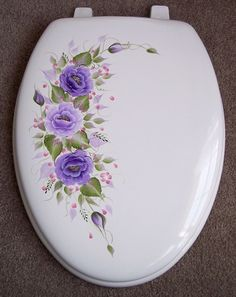 HAND PAINTED TOILET SEAT/ROSES/PURPLE/ ELONGATED