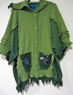 Woodland Fairy Sweater coat fits sizes thru 5x by monapaints, $295.00