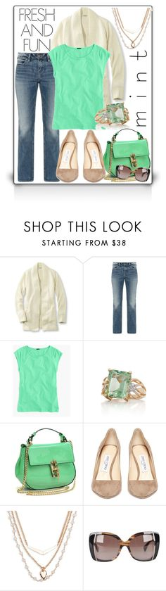 """""""Minty Fresh"""" by misself765 ❤ liked on Polyvore featuring L.L.Bean, Silver Jeans Co., J.Crew, Belk & Co., Dasein, Jimmy Choo, Vera Bradley and Emilio Pucci"""