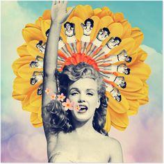 Adesivo Sun Marilyn Monroe  de Ile Machado sobre colagem, vintage, flor, retro, sky, marilyn monroe, monroe, colage