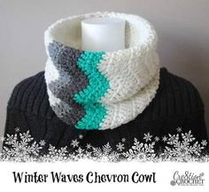 Chevron Crochet Cowl - I've been meaning to learn how to crochet chevrons for a while now, this wouldn't be too hard to start with
