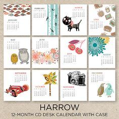 SALE 50 off HARROW 2014 Desk Calendar with CD by doublebuttons