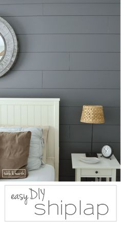 Grey painted shiplap accent wall in master bedroom. Installing your own shiplap can be super easy! This is a great tutorial by Table & Hearth for how to install a shiplap planked wall using simple plywood underlayment. Kitchen Decorating, Diy Wand, Plank Walls, Plank Wall Bedroom, Wood Walls, Ship Lap Walls, My New Room, Home Interior, Interiores Design