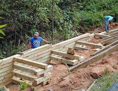 A Homeowner's Guide to Retaining Walls Wooden Retaining Wall, Concrete Block Retaining Wall, Sleeper Retaining Wall, Retaining Wall Design, Building A Retaining Wall, Landscaping Retaining Walls, Outdoor Landscaping, Retaining Wall Steps, Driveway Landscaping