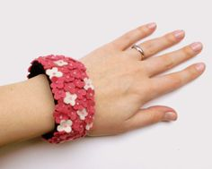 Pink Flowers - hand embroidered felt bracelet - small flowers - wool felt - by Grab a Coffee