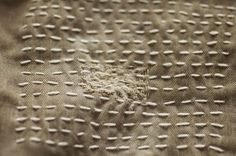 """Detail of a new visible mending project. """"Made by Katrina"""""""