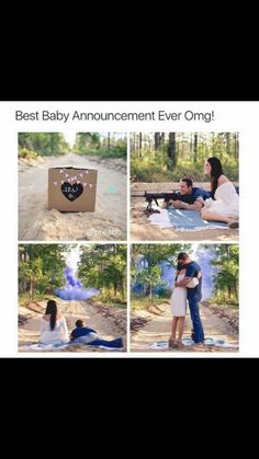 Baby announcement gender reveal guns mike cute