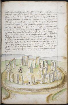 Watercolour sketch of Stonehenge, from Lucas de Heere, 'Corte Beschryvinghe van England, Scotland, ende Irland, England (London), Add MS 28330, f. 36r