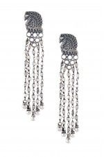 Tribebyamrapali-Silver Peacock Bead Earrings