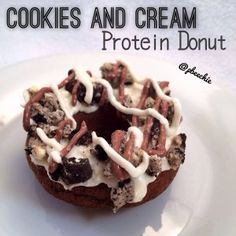 Quest--Cookies and Cream Protein Donut Nutritional info for 1 donut before toppings: 67 calories; 2 g fat, 6 g carbs (2 g fiber), and 7 g protein -