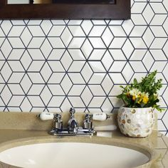 SomerTile 10.5x12.125-inch Victorian Rhombus Glossy White Porcelain Mosaic Floor and Wall Tile (10/Case, 9.04 sqft.) (Victorian Rhombus Glossy White)