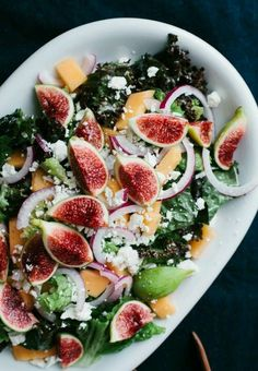 Looking for a delicious and healthy lunch? We recommend trying this recipe for Fig and Melon Salad with Creamy Lemon Vinaigrette! Vegetarian Recipes, Cooking Recipes, Healthy Recipes, Fig Recipes, Yummy Recipes, Quick Recipes, Amazing Recipes, Healthy Meals, Beef Recipes