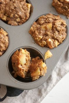 Unbelievably moist apple muffins made with oatmeal and whole wheat flour. Delicious and good for you, these muffins are great for fall breakfasts!
