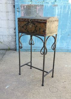 Forged trunk stand by blacksmith Kyle Lucia of Phoenix Handcraft