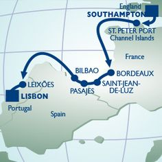 12 NIGHT FRANCE, SPAIN & PORTUGAL VOYAGE - Itinerary Map