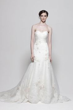Strapless dropped waist sheath / column organza wedding dress