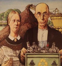 """recycle gothic Grant Wood submitted his painting """"American Gothic"""" to a competition at the American Gothic Painting, American Gothic House, Grant Wood American Gothic, American Gothic Parody, American Art, Deviant Art, Farmer Painting, Art Grants, Famous Artwork"""
