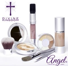 DIVINE KINGDOM combines the world's best ingredients, affirming words and celebrity makeup artist application secrets. The Angel 5 Minute Face System combines 4 products and 3 brushes providing all a women needs to have a natural and flawless look in only 5 minutes.  The 5 Minute System covers from porcelain skin tones to dark chocolate and all the angels in between. All Angel 5 minute face systems come with a training guide that demystify beauty and share celebrity makeup artist secrets…