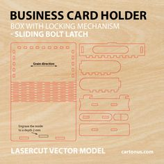 Business card holder, cigarette case, jewelry box, gift box,  wooden box with locking  mechanism  - sliding  bolt latch. Lasercut vector model. Ready for laser cut. Preview of vector file. ai, dxf, eps, pdf