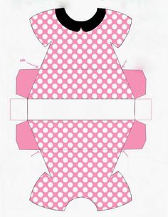 robe_de_minnie_rosejpg - link to French site with lots of Minnie & Mickey party printables Minnie Baby, Minnie Mouse Party, Printable Box, Printables, Paper Toys, Paper Crafts, Paper Box Template, Paper Purse, Baby Shawer