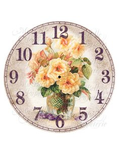 Clock-DIY Clock Face with Vintage Image Yellow Roses Clock Art, Diy Clock, Decoupage Vintage, Decoupage Paper, Clock Face Printable, Shabby Chic Clock, Old Clocks, Yellow Roses, Pink Roses