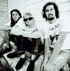 Nirvana pictured on 22 July 1991 in Hollywood - Dave Grohl, Kurt Cobain and Krist Novoselic. Photo: Chris Cuffaro.