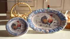 Blue Farm Rooster Plate for Dollhouse by Twelvetimesmoreteeny