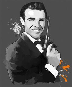 "Sean Connery aus ""James Bond"", Tinted Style | http://www.yourpainting.de/motive-artikel/sean-connery-als-james-bond"