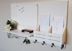 Key Rack and Coat Hooks - love this message center for our front #entryway.